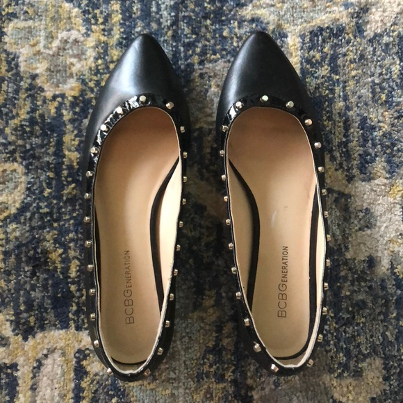 Bcbg Pointy Black Studded Flats